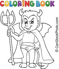 Coloring book little devil - eps10 vector illustration.