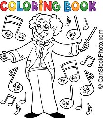 Coloring book music maestro - eps10 vector illustration.