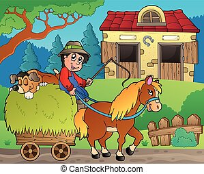 Hay cart with farmer near stable - eps10 vector...