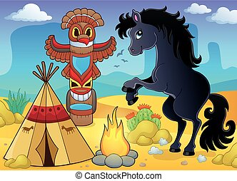 Horse in Native American campsite - eps10 vector...