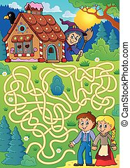 Maze 30 with Hansel and Gretel theme - eps10 vector...