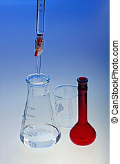 Buret and Glassware - Buret showing titration with other...