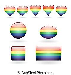 Set of LGBT Symbols - A set of gay pride symbols with a...
