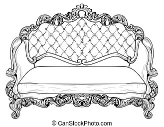 Baroque sofa with luxurious ornaments. Vector French Luxury...