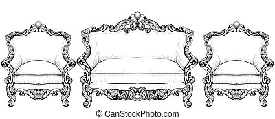 Imperial Baroque furniture set with luxurious ornaments....
