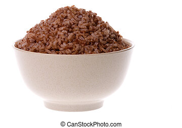 Steamed High Fibre Red Rice - Isolated image of steamed high...