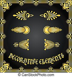 Decorative floral design elements and ornaments