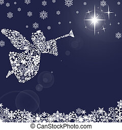 Christmas Angel with Trumpet and Snowflakes 2 - Christmas...