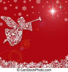 Christmas Angel with Trumpet and Snowflakes Red Background