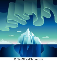 Aurora Borealis and Iceberg Vector Illustration - Aurora...
