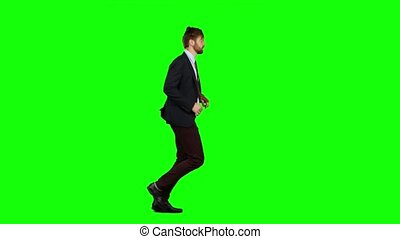 Businessman run to work, is late for an important meeting. Green Screen