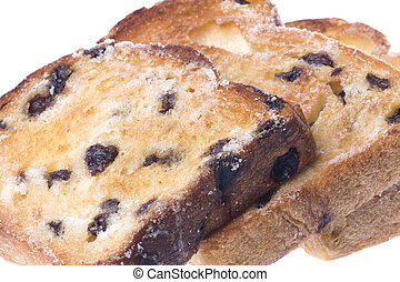 Toasted Raisin Bread Slices Isolated - Isolated macro image...