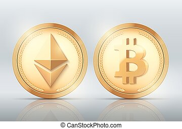 Cryptocurrency Gold coin set