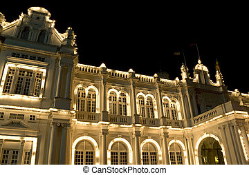 Colonial Building at Night - Night image of an old British...
