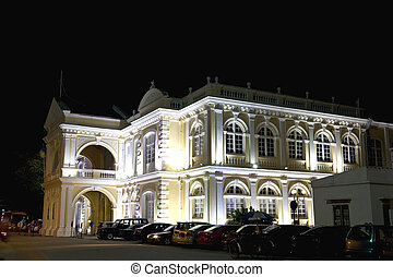 Colonial Town Hall at Night - Night image of an old British...