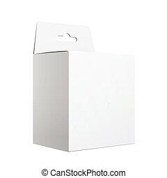 White Package carton Box with Hang Slot.