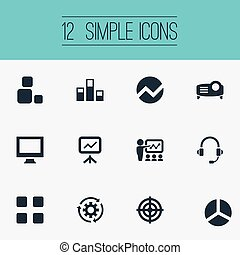 Vector Illustration Set Of Simple Icons. Elements Training,...