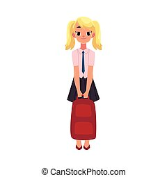 Student, girl in school uniform holding backpack - Student,...