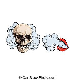 Smoke coming out of skull and lips with red lipstick