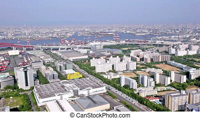 Aerial panoramic view of Osaka city, Japan - Aerial...