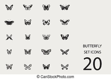 Butterfly set of flat icons. Vector illustration