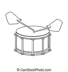 Drum, percussion musical instrument. Drum shot single icon...