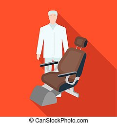 The doctor is a dentist in a white dressing gown in the office next to the chair. Medicine single icon in flat style vector symbol stock illustration web.