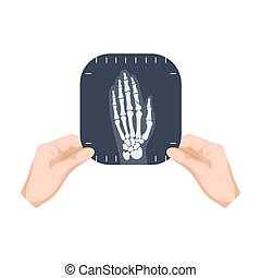 X-ray picture of the hand of a person in the hands of a...