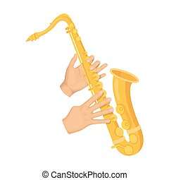 The saxophonist plays the saxophone. Golden saxophone single...