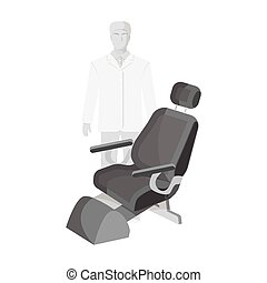 The doctor is a dentist in a white dressing gown in the office next to the chair. Medicine single icon in monochrome style vector symbol stock illustration web.