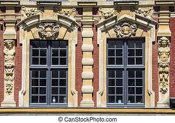 Vieille Bourse Architecture in Lille - A close-up fo the...