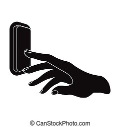 A hand that includes an electric switch. Push Button Switch...
