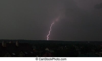 Super slow motion shot of a spectacular lightning strike in...