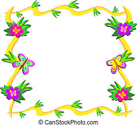 Frame of Tropical Woods, Flowers, a