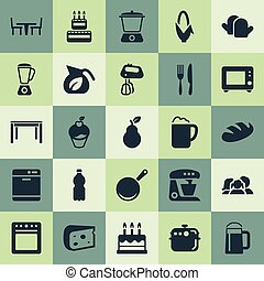 Vector Illustration Set Of Simple Kitchen Icons. Elements Wheat, Maize Ear, Cupcake And Other Synonyms Blender, Appliance And Saucepan.