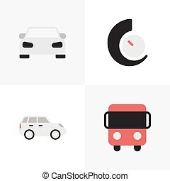 Vector Illustration Set Of Simple Traffic Icons. Elements...
