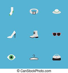 Vector Illustration Set Of Simple Equipment Icons. Elements Clothes Hook, Female Cap, Boot And Other Synonyms Strap, Woman And Footwear.