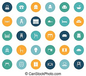 Vector Illustration Set Of Simple Furniture Icons. Elements...