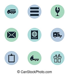 Vector Illustration Set Of Simple Handing Icons. Elements...