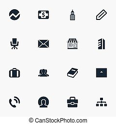 Vector Illustration Set Of Simple Teamwork Icons. Elements Building, Office Chair, Tag And Other Synonyms Bank, Department And International.