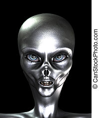 Silver Grey Alien - A sinister looking silver skinned alien...