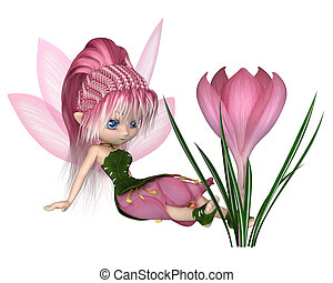 Cute Toon Pink Crocus Fairy, Sitting by a Flower