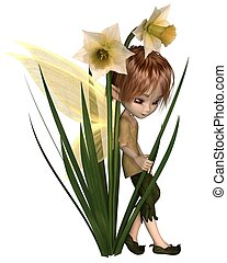 Cute Toon Daffodil Fairy Boy