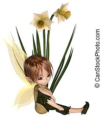 Cute Toon Daffodil Fairy Boy, Sitting