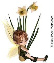 Cute Toon Daffodil Fairy Boy, Sitting