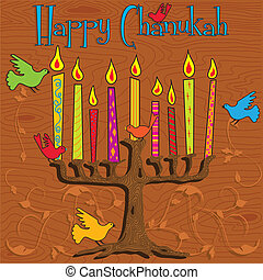 Chanukah Menorah - Tree inspired Menorah with bright candles...
