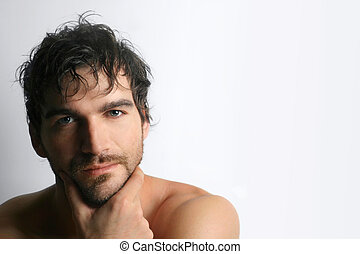 Smirk - Masculine attractive young shirtless man with beard...