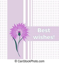 Floral greeting card best wishes with blue flower cornflower...