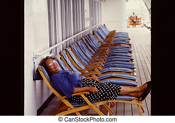 Cruise vacation - African american female on a cruise...