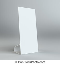 Blank paper table card on on grey background. Template...